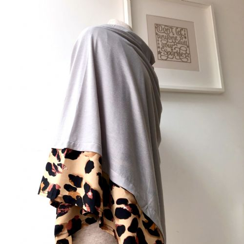 Poncho - summer weight -animal print trim